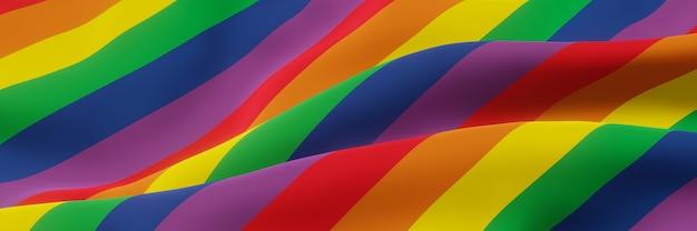 Drapeau arc-en-ciel ondulé 3d couleur lgbtq