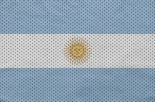 Drapeau argentin imprimé sur un tissu de sportswear en nylon et polyester