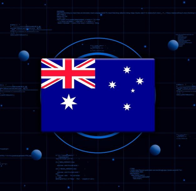 Drapeau de l'australie avec des éléments technologiques réalistes, rendu 3d