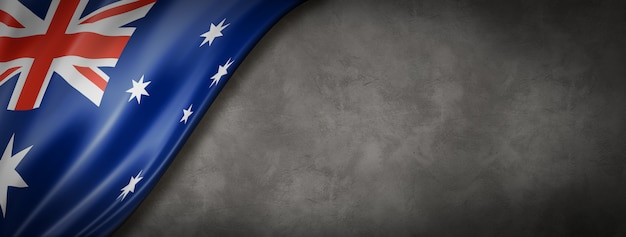 Drapeau australien sur mur de béton