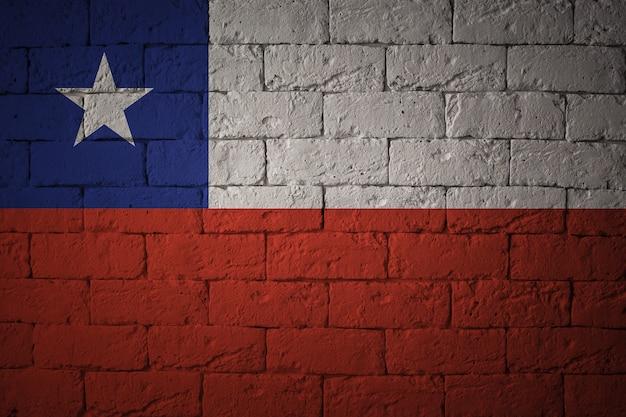 Drapeau aux proportions originales. gros plan du drapeau grunge du chili