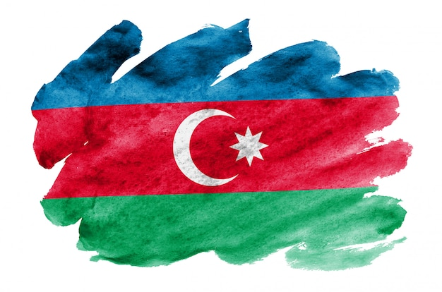 Le drapeau de l'azerbaïdjan est représenté dans un style aquarelle liquide isolé sur blanc