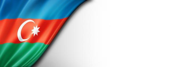 Drapeau de l'azerbaïdjan isolé sur blanc. bannière panoramique horizontale.