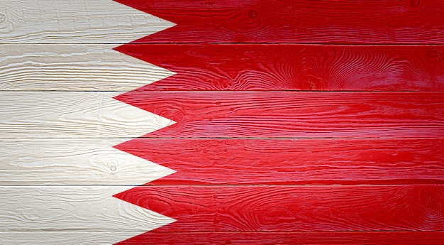 Drapeau bahreïn peint sur fond de planche de bois ancien