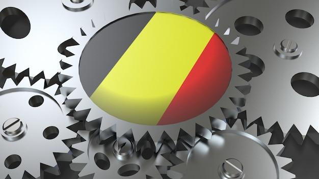 Drapeau de la belgique avec des engrenages