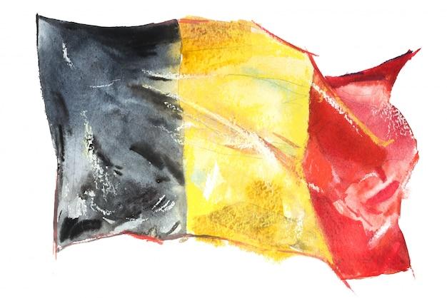 Drapeau de la belgique peint à l'aquarelle