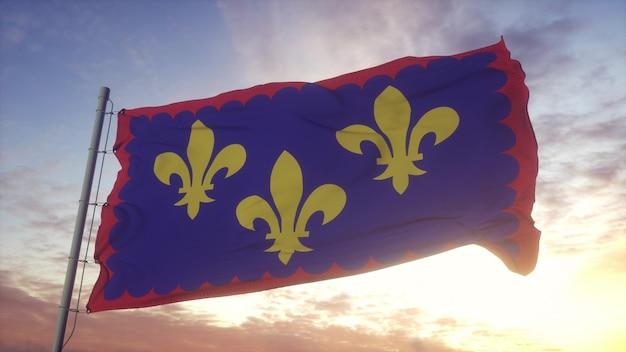 Drapeau berry, france, ondulant dans le vent, le ciel et le soleil. rendu 3d.