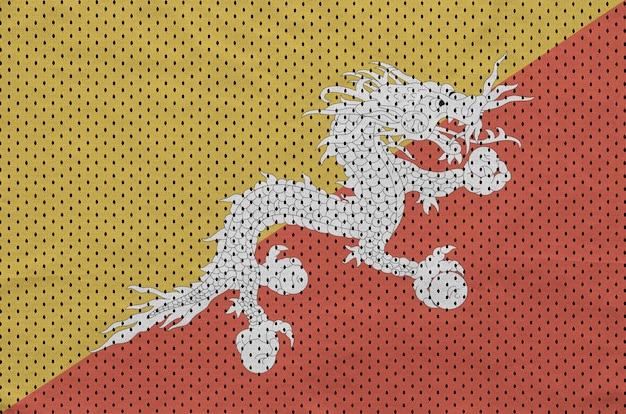 Drapeau bhoutan imprimé sur un tissu en maille de sportswear en nylon et polyester