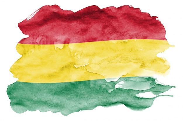 Le drapeau de la bolivie est représenté dans un style aquarelle liquide isolé sur blanc