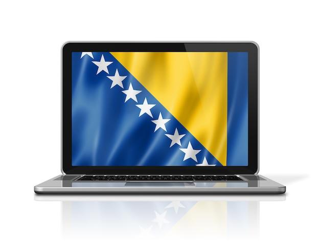 Drapeau de la bosnie-herzégovine sur écran d'ordinateur portable isolé sur blanc. rendu d'illustration 3d.