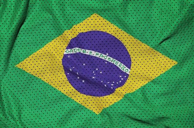 Drapeau brésil imprimé sur un tissu mesh en nylon polyester sportswear
