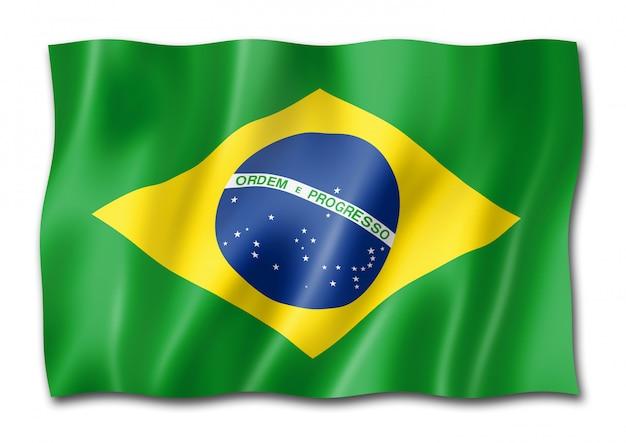 Drapeau brésilien isolé sur blanc
