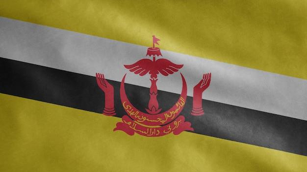 Drapeau brunéien flottant dans le vent