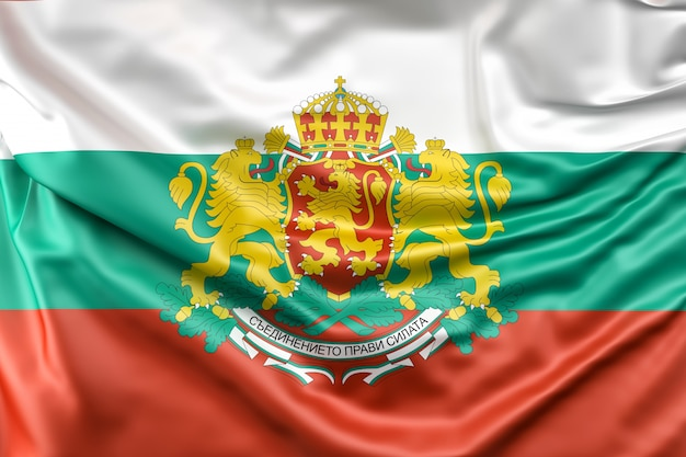Drapeau de bulgarie avec armoiries
