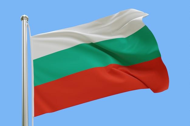 Drapeau de la bulgarie sur mât ondulant dans le vent. isolé sur bleu ciel