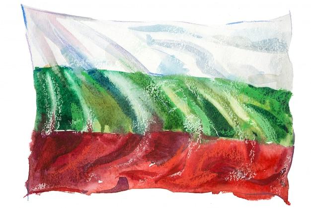 Drapeau de la bulgarie peint à l'aquarelle
