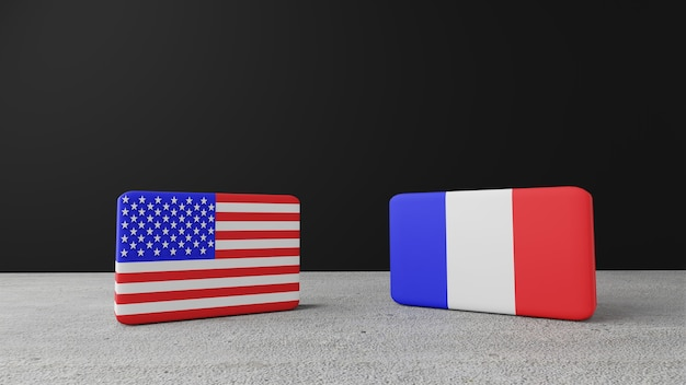 Drapeau carré des états-unis d'amérique avec le drapeau carré de la france, rendu 3d