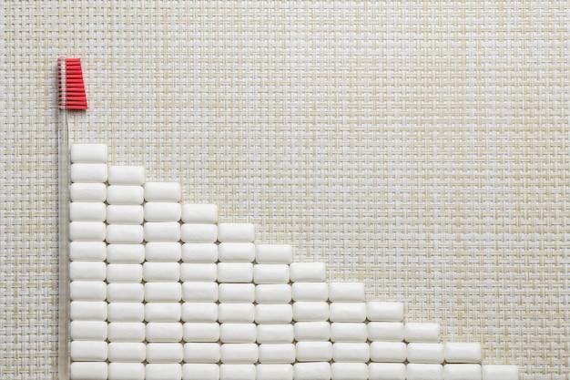 Drapeau de chewing-gum, concept d'hygiène buccale avec espace de copie