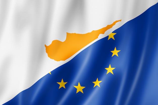 Drapeau chypre et europe