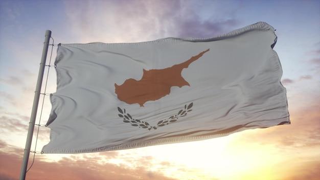 Drapeau de chypre ondulant dans le fond du vent, du ciel et du soleil. rendu 3d.