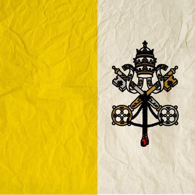 Drapeau de la cité du vatican avec du vieux papier vintage