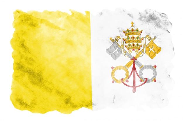 Drapeau de la cité du vatican est représenté dans un style aquarelle liquide isolé
