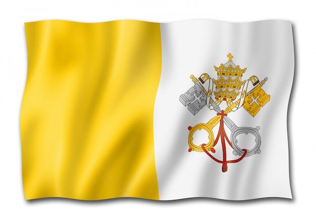 Drapeau de la cité du vatican isolé sur blanc