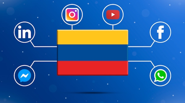 Drapeau de la colombie avec des logos de médias sociaux 3d