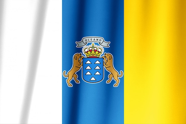 Drapeau de la communauté espagnole des îles canaries.