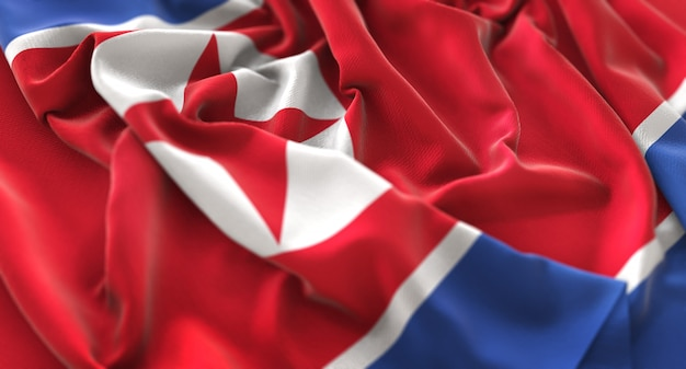 Le drapeau de la corée du nord ruffled beautifully waving macro close-up shot