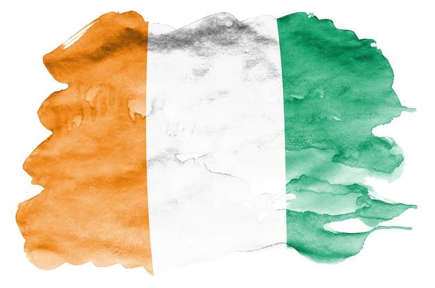Le drapeau de la côte d'ivoire est représenté dans un style aquarelle liquide isolé sur blanc