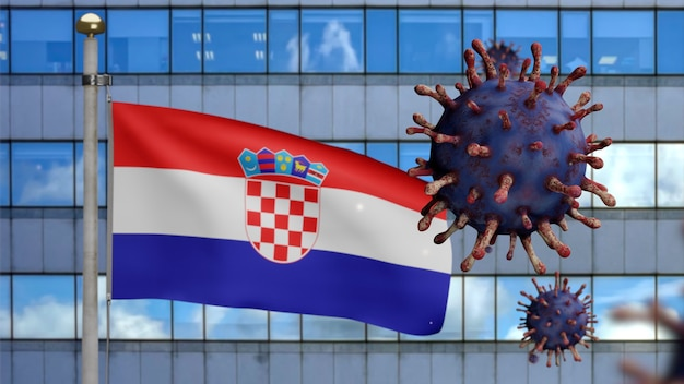 Drapeau croate en 3d avec une ville de gratte-ciel moderne et une épidémie de coronavirus en tant que grippe dangereuse. virus covid 19 de type grippe avec fond de soufflage de bannière nationale de croatie. notion de risque de pandémie