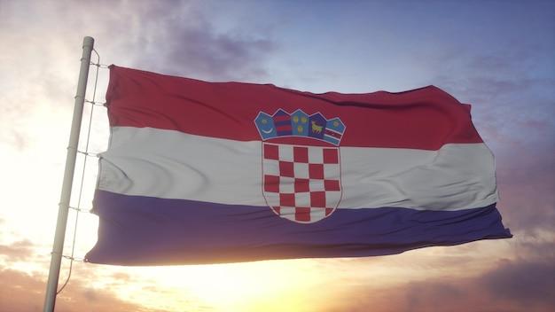 Drapeau de la croatie ondulant dans le fond du vent, du ciel et du soleil. rendu 3d.