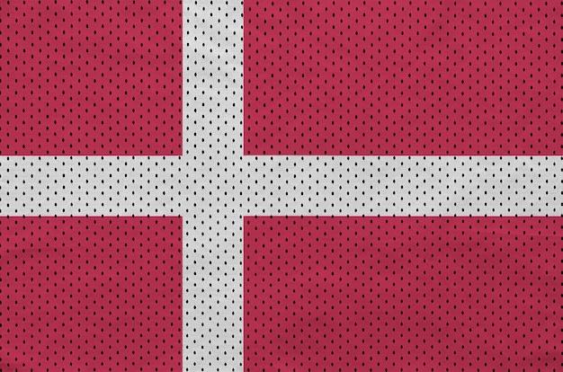 Drapeau danemark imprimé sur un tissu en maille de sportswear en nylon polyester
