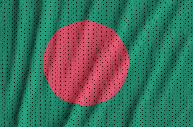 Drapeau du bangladesh imprimé sur un tissu de sportswear en nylon et polyester