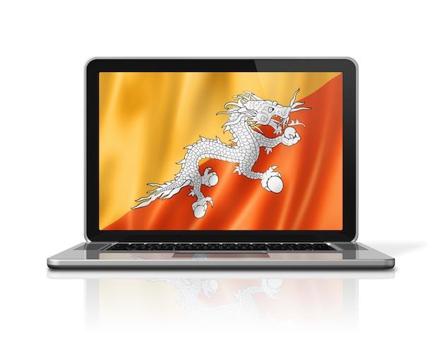 Drapeau du bhoutan sur écran d'ordinateur portable isolé sur blanc. rendu d'illustration 3d.