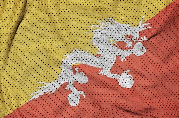 Drapeau du bhoutan imprimé sur un tissu de nylon pour sportswear