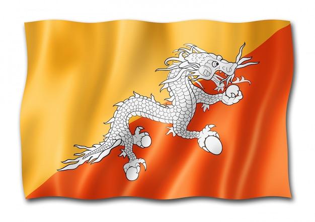 Drapeau du bhoutan isolé sur blanc