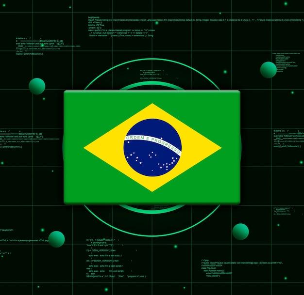 Drapeau du brésil avec des éléments technologiques réalistes, rendu 3d