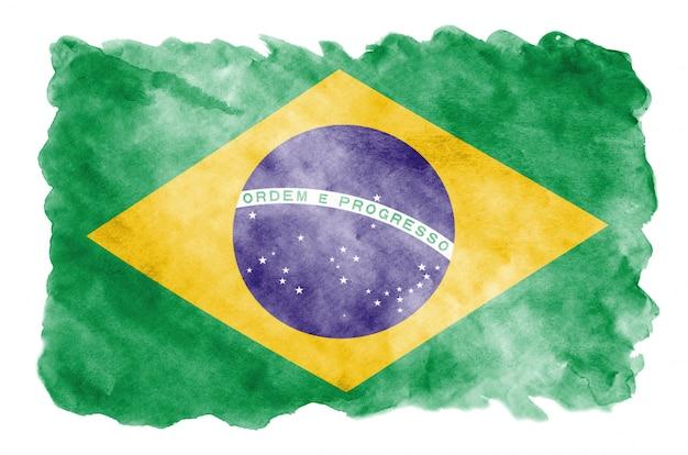 Le drapeau du brésil est représenté dans un style aquarelle liquide isolé sur blanc