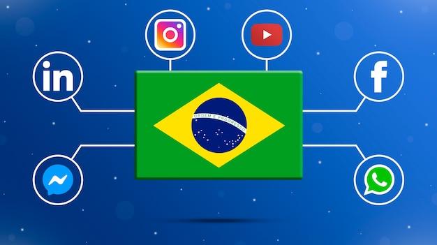 Drapeau du brésil avec des logos de médias sociaux 3d