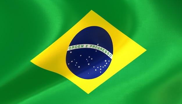 Drapeau du brésil rendu 3d avec texture
