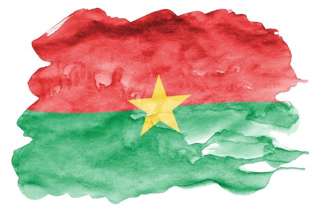 Le drapeau du burkina faso est représenté dans un style aquarelle liquide isolé sur blanc