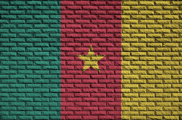 Le drapeau du cameroun est peint sur un vieux mur de briques
