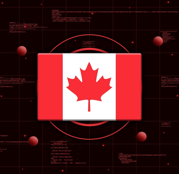 Drapeau du canada avec des éléments technologiques réalistes, rendu 3d