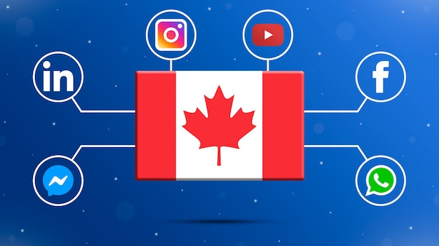 Drapeau Du Canada Avec Logos De Médias Sociaux 3d Photo Premium
