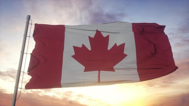 Drapeau du canada ondulant dans le fond du vent, du ciel et du soleil. rendu 3d.