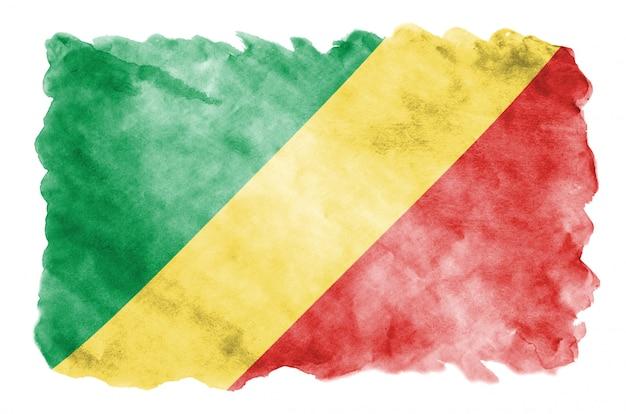 Le drapeau du congo est représenté dans un style aquarelle liquide isolé sur blanc