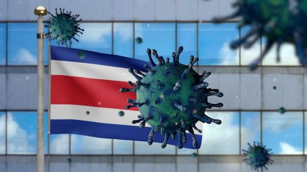 Drapeau du costa rica en 3d avec la ville de gratte-ciel moderne et le concept ncov du coronavirus 2019. épidémie asiatique au costa rica, la grippe à coronavirus en tant que cas dangereux de souche de grippe en tant que pandémie covid19