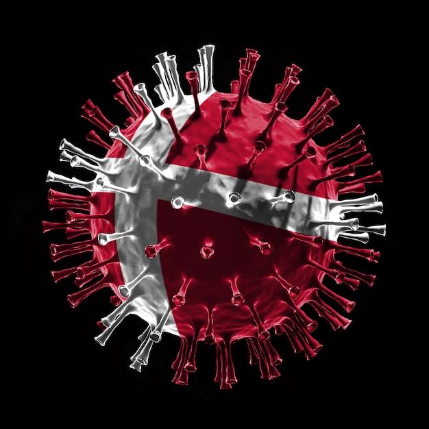 Drapeau du danemark sur covid-19 est un concept de virus. rendu 3d